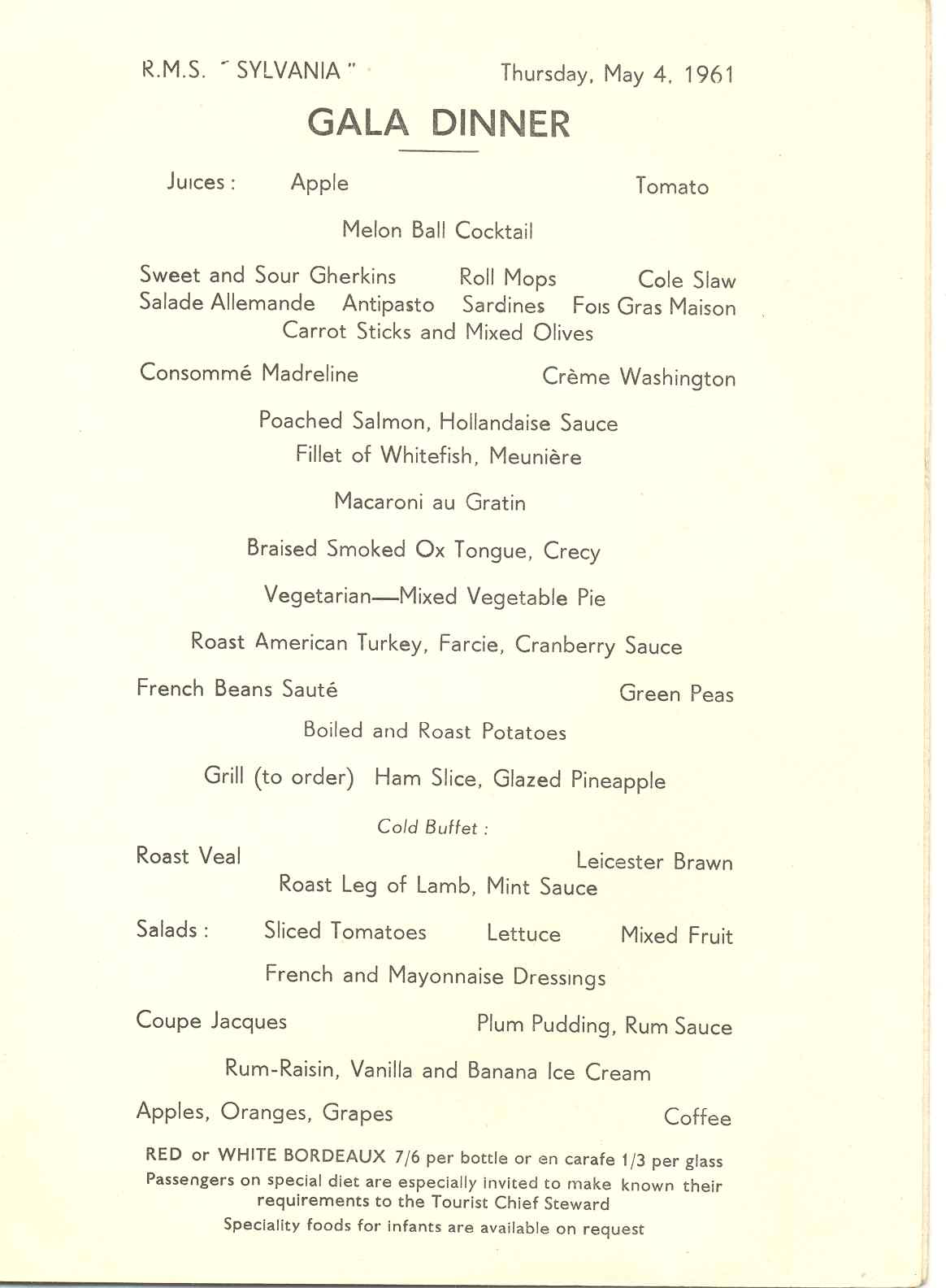 Gala night menu